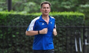 Conservative Party leadership candidate Jeremy Hunt returns from his morning run in London.