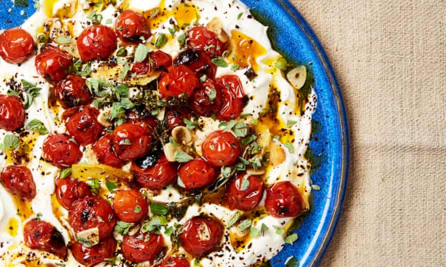 Yotam Ottolenghi's hot charred cherry tomatoes with cold yoghurt.