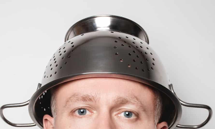 A Pastafarian wearing a colander on their head