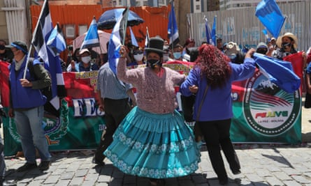 Mas supporters celebrate in La Paz, Bolivia, on October 19th.