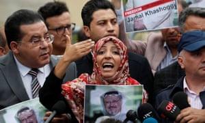 Nobel peace prize winner Tawakkol Karman, of Yemen, during a protest over the murder of Jamal Khashoggi outside the Saudi consulate in Istanbul in 2018.