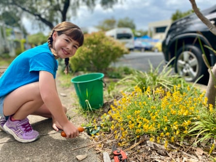 Elsje Evans-Tracey (9) from Woolloongabba weeding in her native garden. Elsje applies the lessons learnt from her school environmental ed lessons to her home garden, with help from her mum Naomi Evans.
