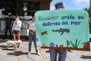 Protesters outside the Chinese embassy in Quito, Ecuador, earlier this month call for fisheries control.