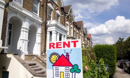 Rental sign outside a house