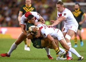 England's James Roby tackles Australia's Dane Gagai. REUTERS/Steve Holland