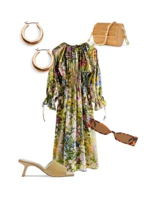 Bemi ShawContributing stylist: 'Pair your floral dress with heeled mules for a weekend brunch.' Dress, £120, stories.com. Earrings, £9.99, mango.com. Sunglasses, £10, nastygal.com. Sandals, £175, miista.com. Bag, £49, warehouse.co.uk