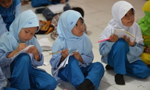 'I want, and expect, a secular education for my daughter' ... schoolchidren in Bekasi in suburban Jakarta.