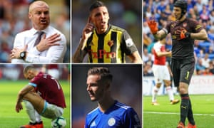 Clockwise from top left: Burnley's Sean Dyche, Watford assist king José Holebas, Arsenal's current No1 Petr Cech; Leicester prospect James Maddison and West Ham's Marko Arnautovic