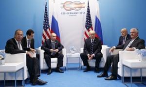 Donald Trump meets with Vladimir Putin at the G20 summit in Hamburg.