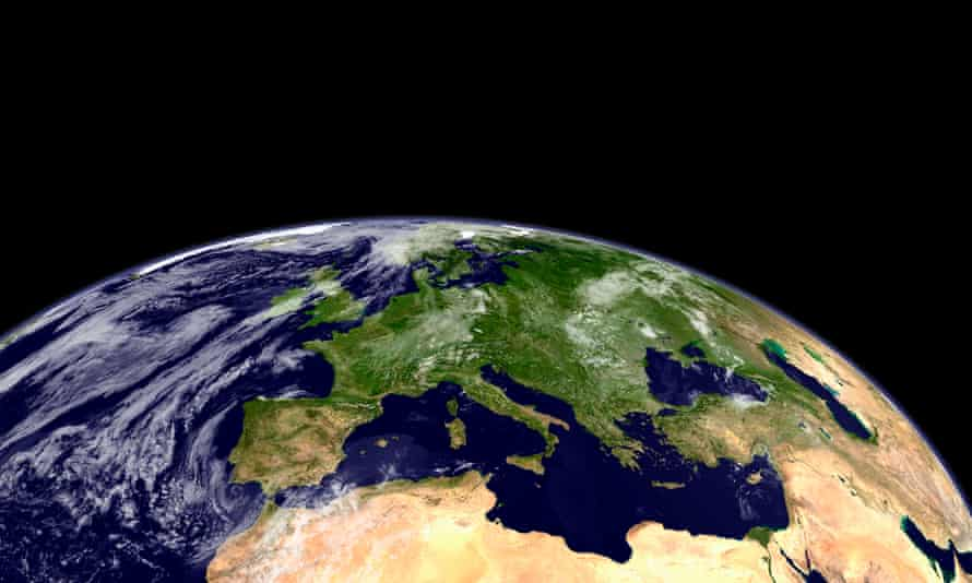 a picture of the planet Earth, focused on the Atlantic ocean,  Europe and north Africa
