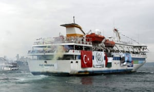 The Turkish ship Mavi Marmara leaving Sarayburnu port in Istanbul in May 2010.
