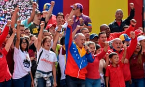 Maduro's right-hand man, Diosdado Cabello, speaks to a crowd of government supporters in Caracas on Wednesday.