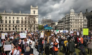 People amass in Parliament Square, London, at the end of the March for Science.