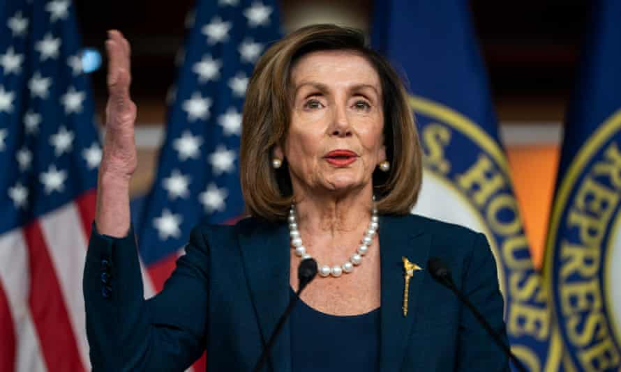 Nancy Pelosi, the House speaker, speaks to the media about the Senate's impeachment trial.