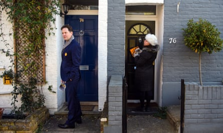 Liberal Democrat candidate Sarah Olney and former party leader Nick Clegg canvass ahead of the Richmond Park and north Kingston byelection.