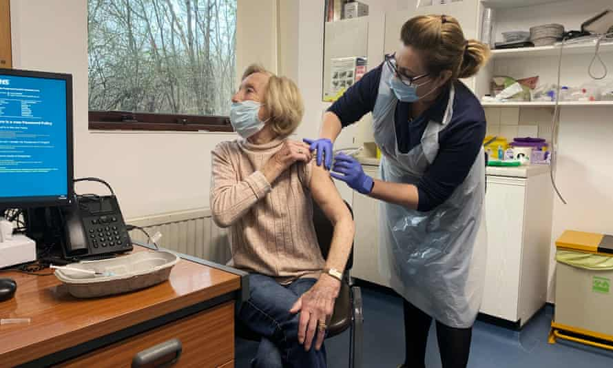 A patient receiving a Covid-19 vaccine in Sheffield.