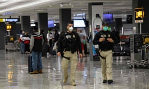 Homeland Security police patrol at Washington's Dulles international airport on Tuesday.