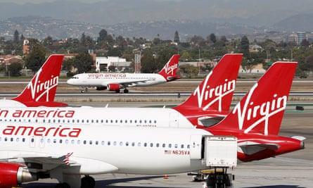 Virgin America jets at Los Angeles airport, California