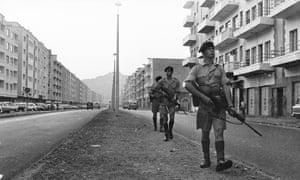 British troops on patrol in Aden in August 1965.