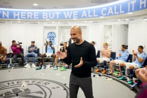 Manchester City manager Pep Guardiola in the team's changing room.