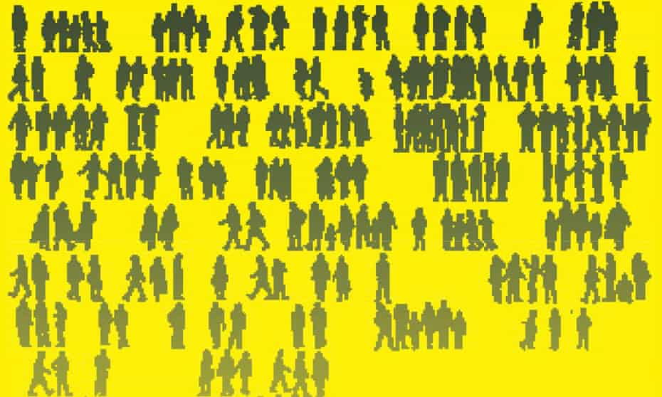 a graphic of silhouettes of people standing in small groups