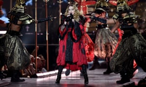 'I work hard!' … Madonna on stage at the 02 Arena, London.