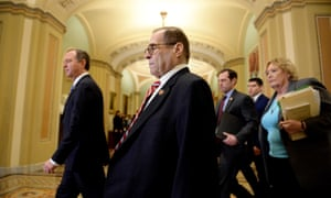 House Managers led by Adam Schiff and Jerry Nadler, walk to the Senate floor for the impeachment trial of Donald Trump.