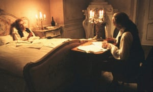 Composed by a man on the edge of consciousness... Tom Hulce as Mozart and F. Murray Abraham as Salieri in the 1984 film Amadeus