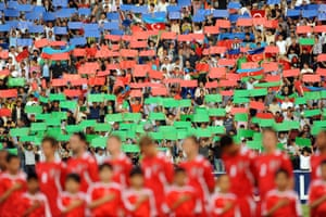 Azerbaijan fans show their support in Baku.
