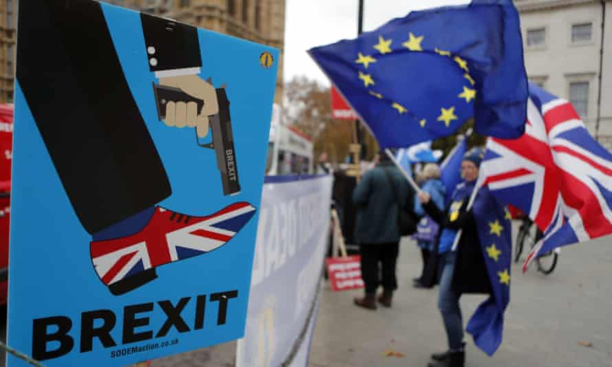 Protesters demonstrate opposite parliament against Brexit.