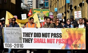 The 80th anniversary of the Battle of Cable Street took place in 2016, marking the solidarity of London residents against Moseley's fascists.