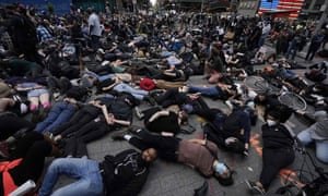 Protesters in Times Square, New York City, on Monday