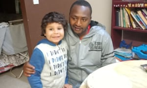John Mwangi and his stepson, six-year-old Clive Kickett