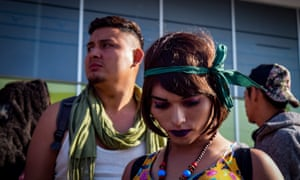 A group of members of the LGBT community, who separated from the caravan of Central American migrants travelling through Mexico, arrives to the border city of Tijuana.