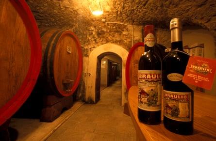 Oak casks in the Bràulio cellars.