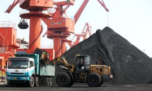 mound of coal at a chinese port