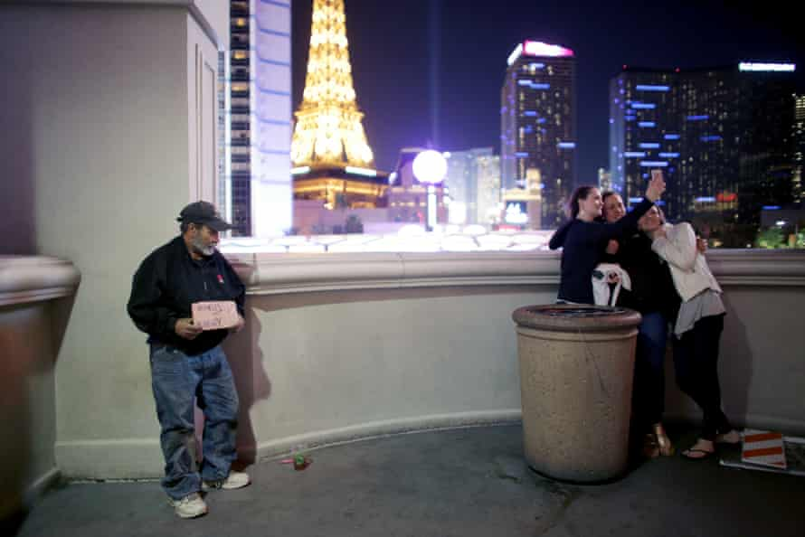 A homeless man on the Strip.