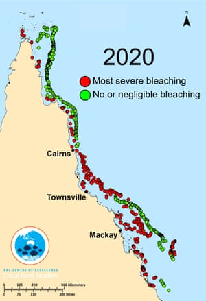 2020 GBR Coral bleaching map of the Great Barrier Reef. Australia.