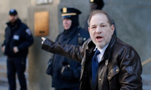 Harvey Weinstein leaves court on Friday, where he is on trial accused of sexual crimes.