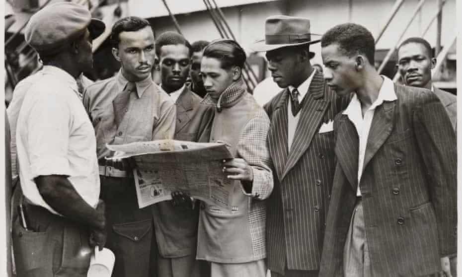 Passengers at Tilbury docks wait to disembark from the Empire Windrush, having sailed from Jamaica, 1948.