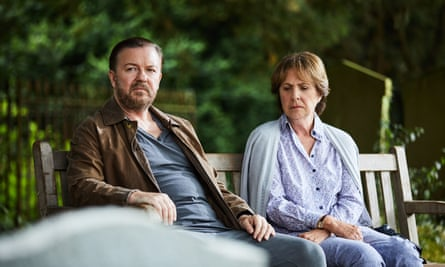 Ricky Gervais with Penelope Wilton in the Netflix series After Life.
