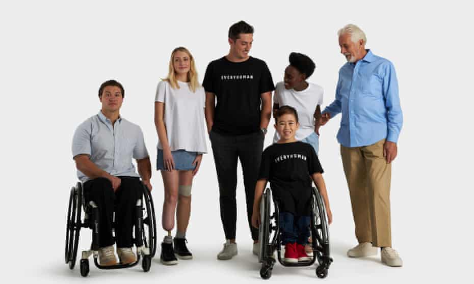 A campaign image for online clothing store Everyhuman featuring a range of differently abled people.