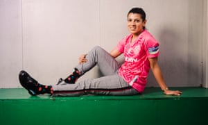 Kenza Dali in the pink shirt worn by West Ham in October to mark breast cancer awareness month.