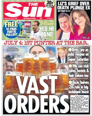 The Sun front page 24 June 2020