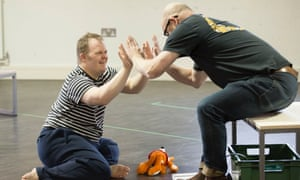 Nathan Bessell and Vic Llewellyn in rehearsals for Up Down Man at the Salisbury Playhouse.