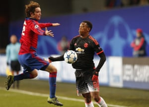 Anthony Martial evades the flying challenge of Mario Fernandes.