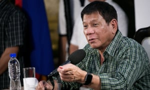 Philippines' president-elect Rodrigo Duterte speaks during a media conference in Davao on Tuesday.