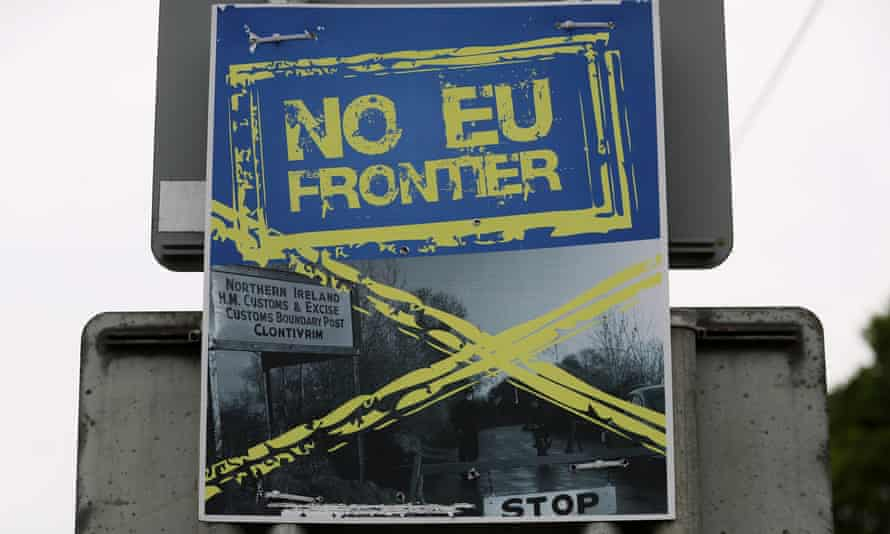 A poster calling for 'No EU Frontier' near the Quinn Cement plant in County Cavan.
