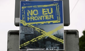 A poster calling for 'No EU Frontier' on the border between the Republic of Ireland and Northern Ireland.