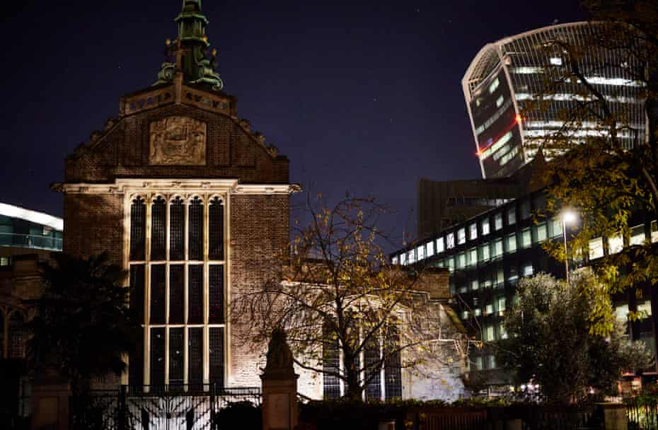 All Hallows church. Night walks in the City of London.